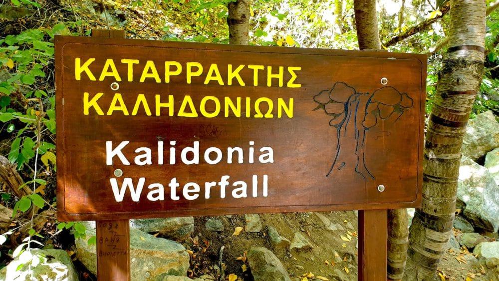 Start Wanderweg zum Caledonia Wasserfall