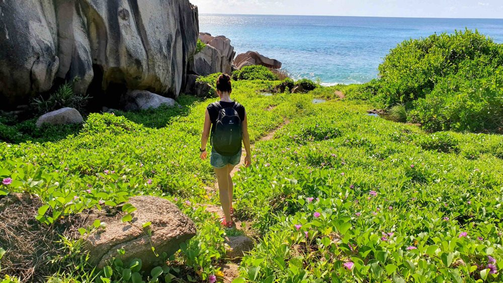 Wanderung zur Anse Marron auf La Digue